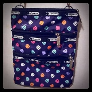 Lesportsac three zipper crossbody